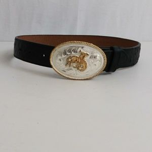 Childs western ostrich embosed leather belt sz 22